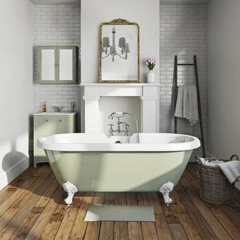 The Bath Co. Sage coloured bath with tap and waste