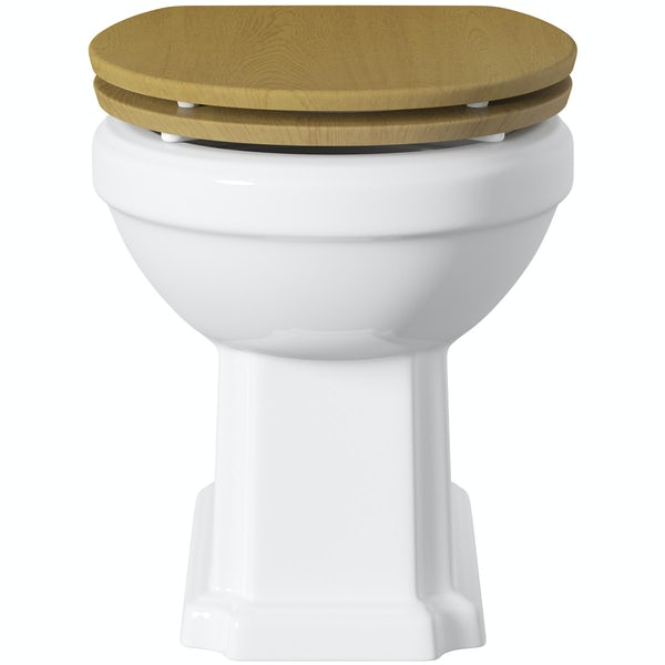 The Bath Co. Dulwich back to wall toilet with oak effect wooden soft close seat