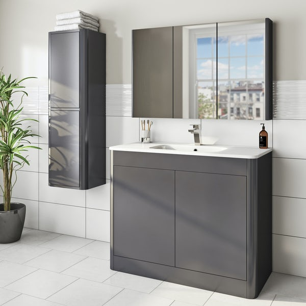 Mode Carter slate furniture package with vanity unit 1000mm