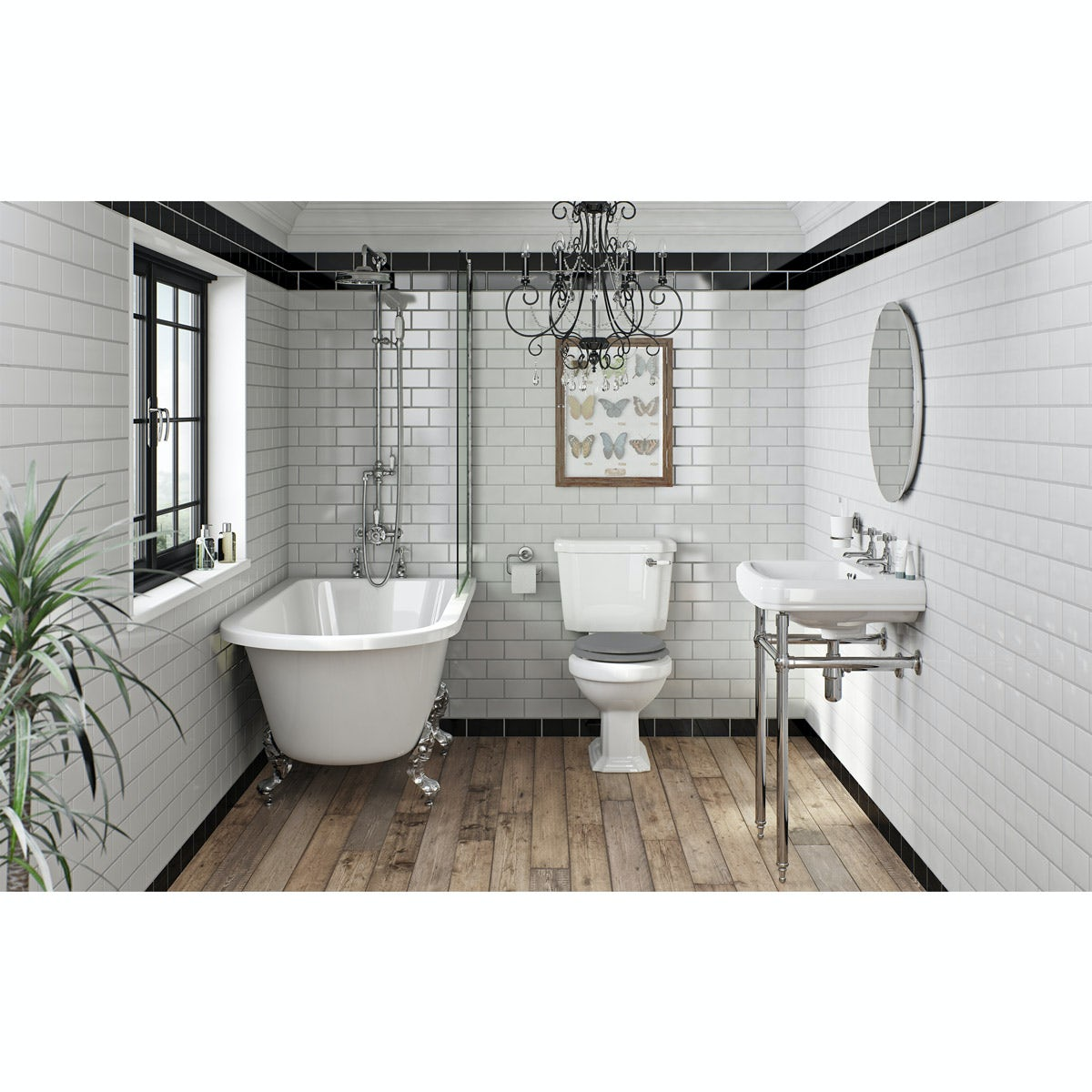 The Bath Co. Dulwich grey bathroom suite with freestanding shower bath