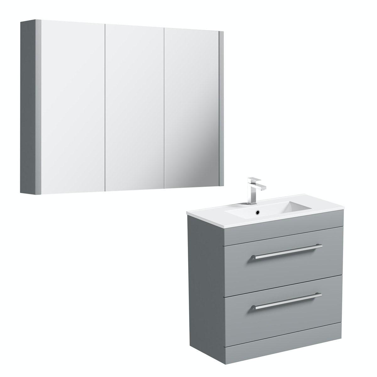 Orchard Derwent stone grey vanity drawer unit 800mm and mirror 900mm