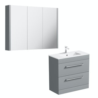Orchard Derwent stone grey vanity drawer unit 800mm and mirror 900mm
