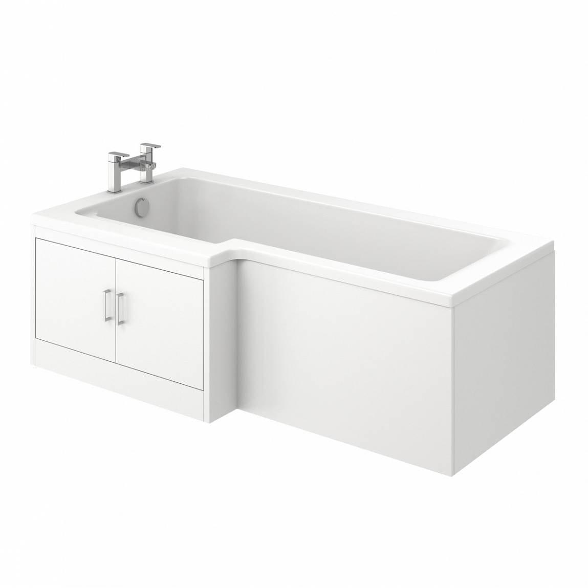 MySpace Water Saving L Shape Shower Bath Left Hand with Storage Panel