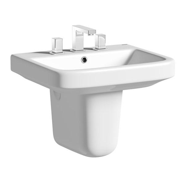 Mode Ive semi pedestal 3 tap hole basin 550mm
