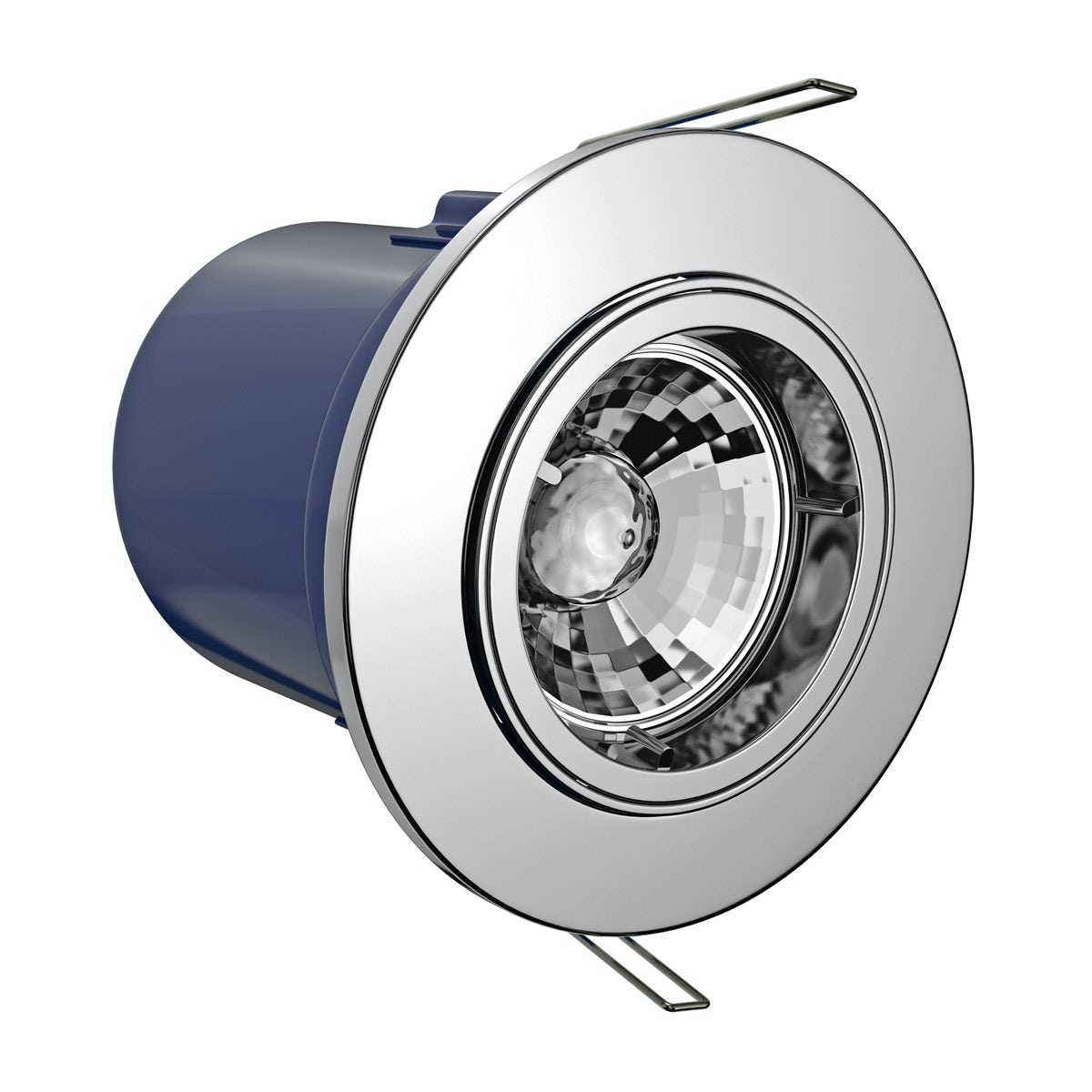 Adjustable fire rated bathroom downlight in chrome