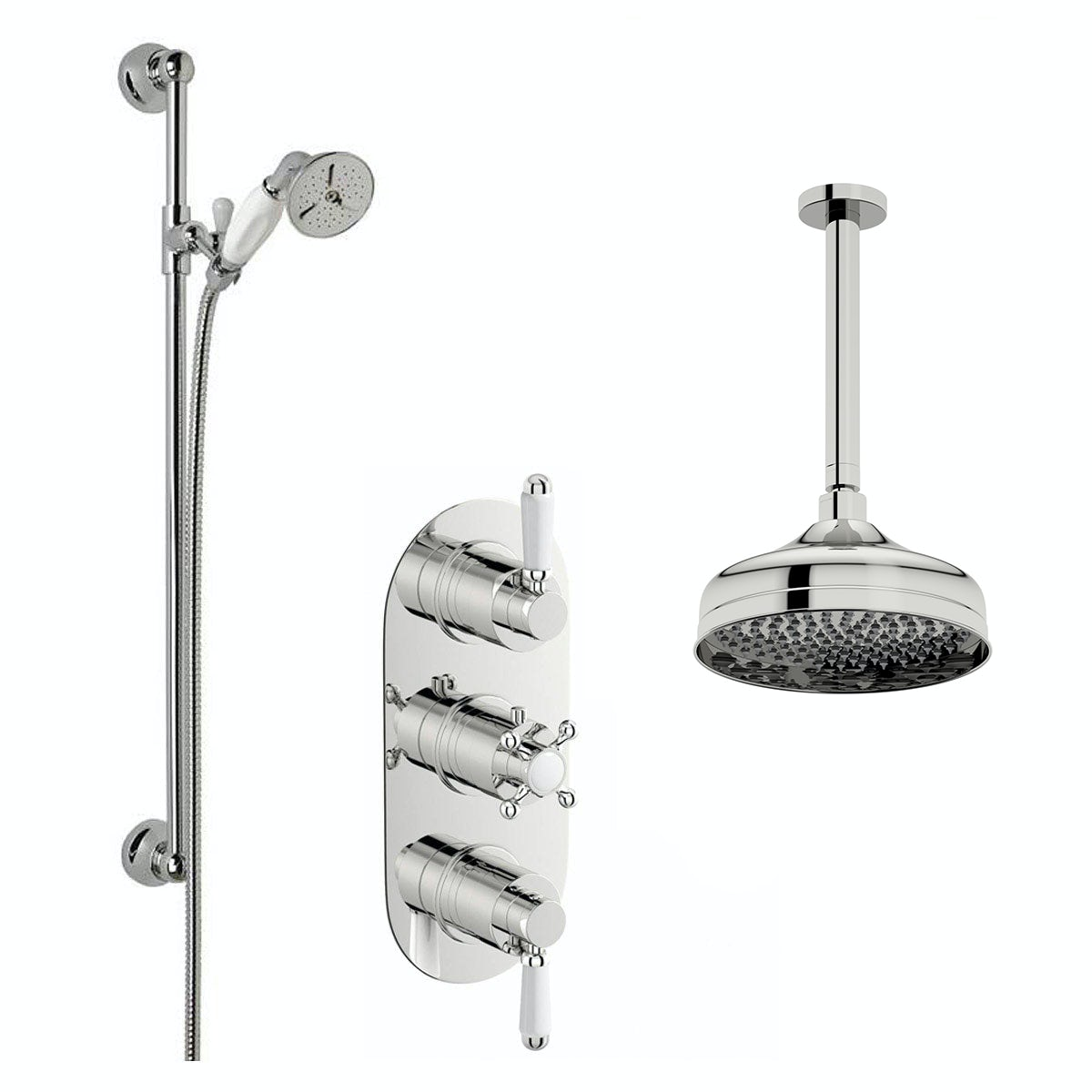Coniston Thermostatic Ceiling Shower & Slide Rail Set