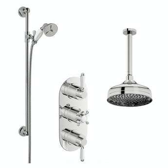 The Bath Co. Coniston thermostatic shower valve with ceiling shower and sliding rail set