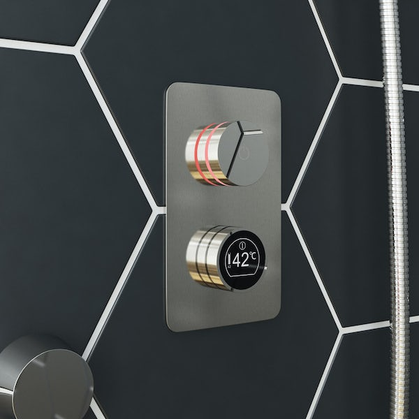 Mode Touch digital thermostatic shower set with round ceiling arm and bath filler waste