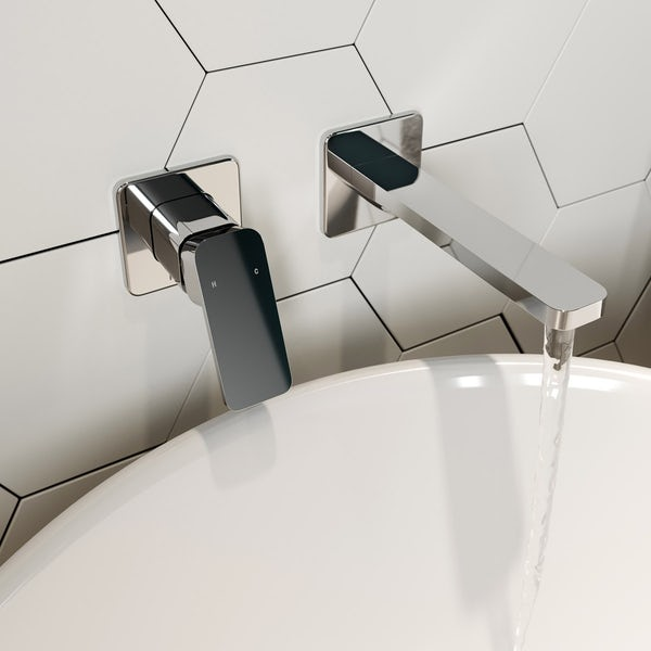 Mode Spencer square wall mounted bath mixer tap offer pack