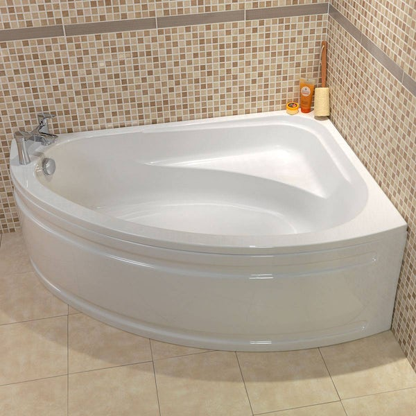 Camden right handed corner bath with acrylic panel
