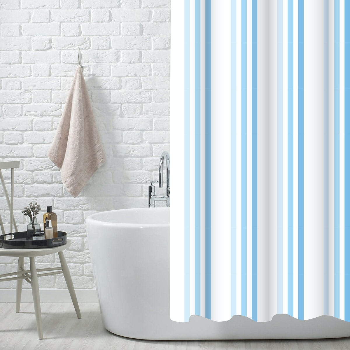 Showerdrape Brighton rock blue polyester shower curtain