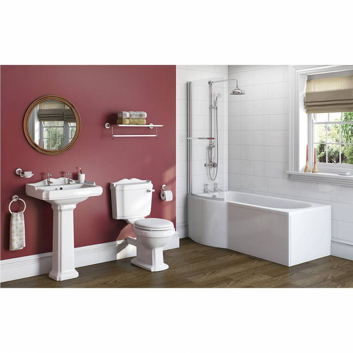 Winchester Bathroom Suite with Evesham 1700 x 850 Shower Bath LH