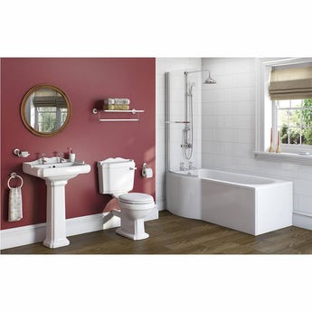 The Bath Co. Winchester bathroom suite with left handed P shaped shower bath 1675 x 850