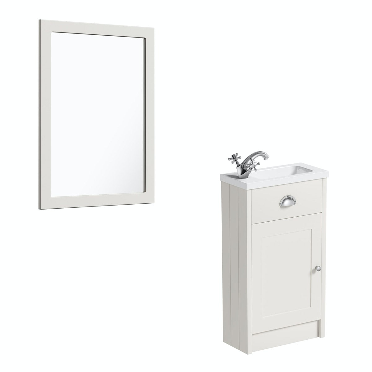 The Bath Co. Dulwich stone ivory cloakroom vanity unit and mirror 600mm