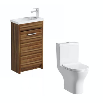 Smart Compact Walnut Unit with Compact Round Toilet