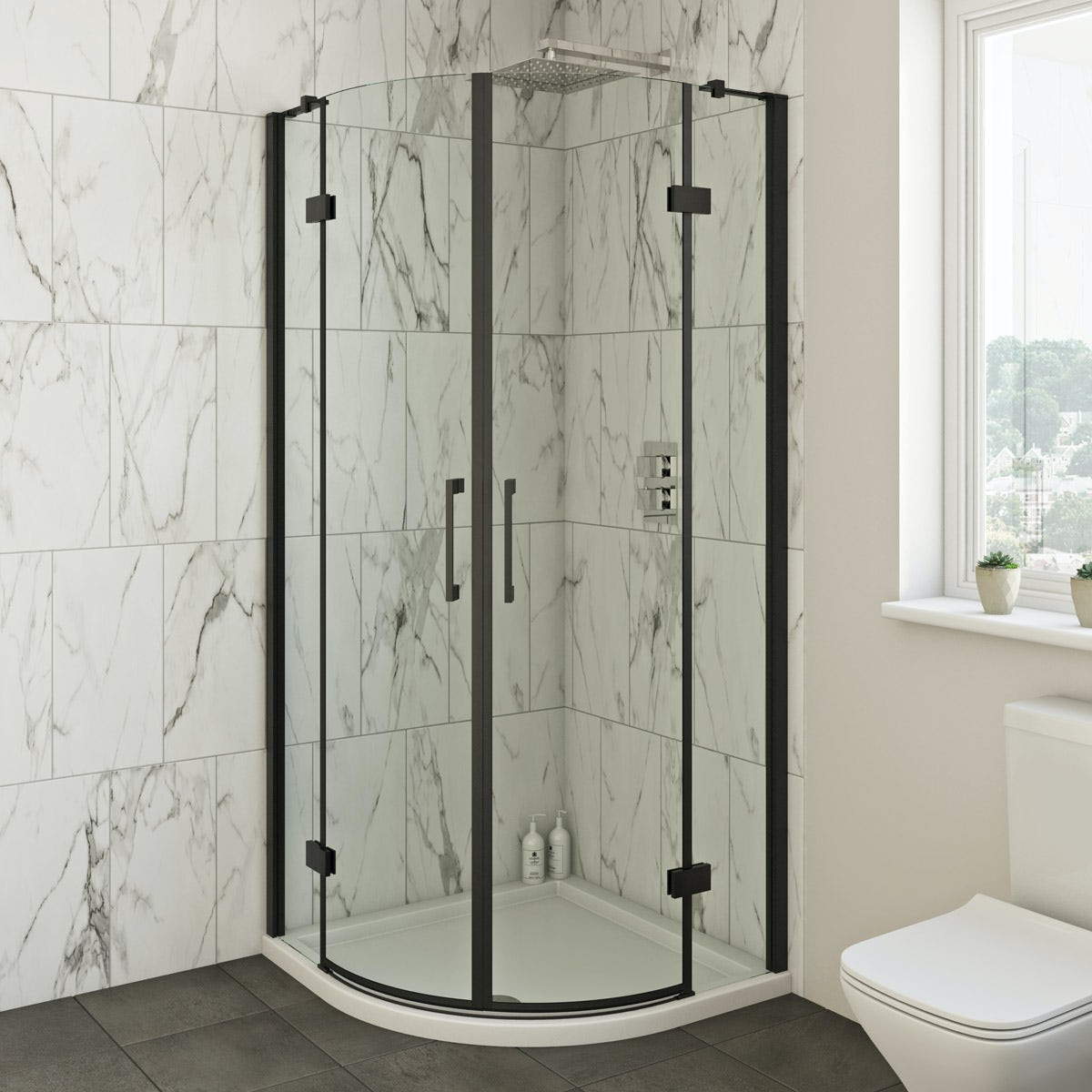 Mode Cooper black hinged quadrant shower enclosure 900 x 900