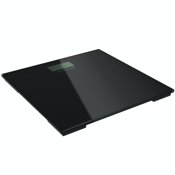 Digital black glass bathroom scales