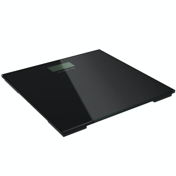 Digital black glass bathroom scales