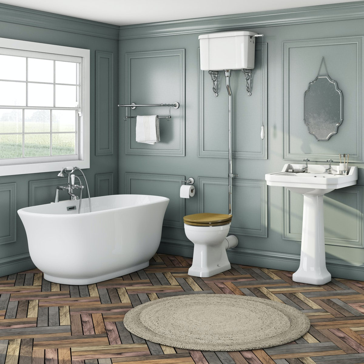 The Bath Co. Camberley high level oak suite with freestanding bath
