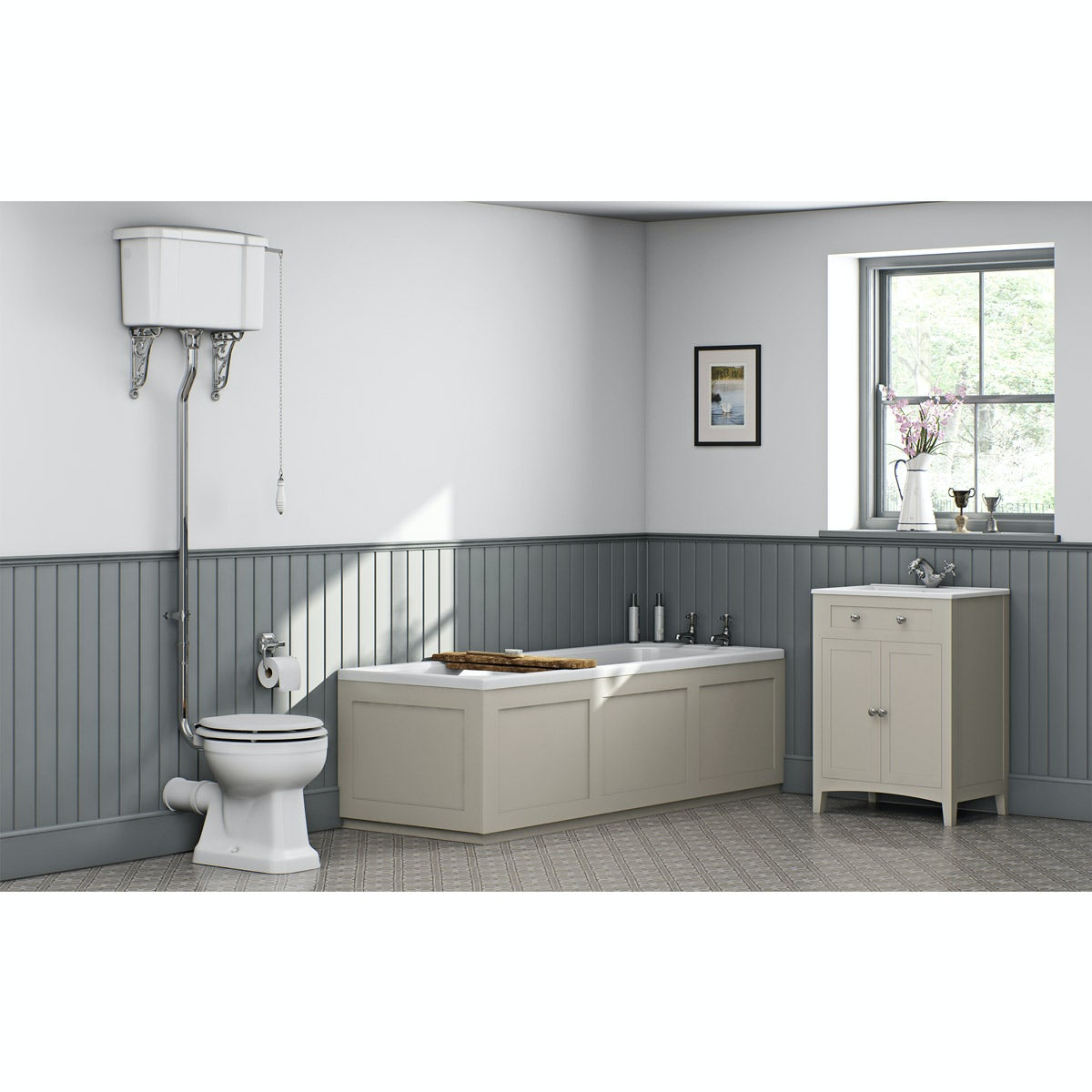 Camberley ivory high level furniture suite with straight bath 1700 x 700mm