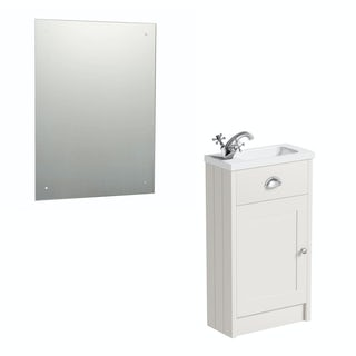 The Bath Co. Dulwich ivory cloakroom vanity unit and rectangular drilled mirror 600 x 450