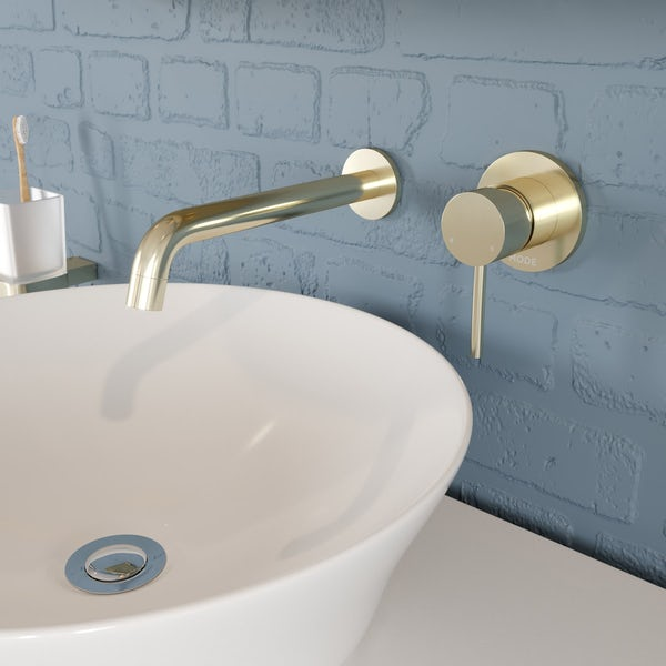 Mode Spencer round wall mounted gold basin mixer tap offer pack