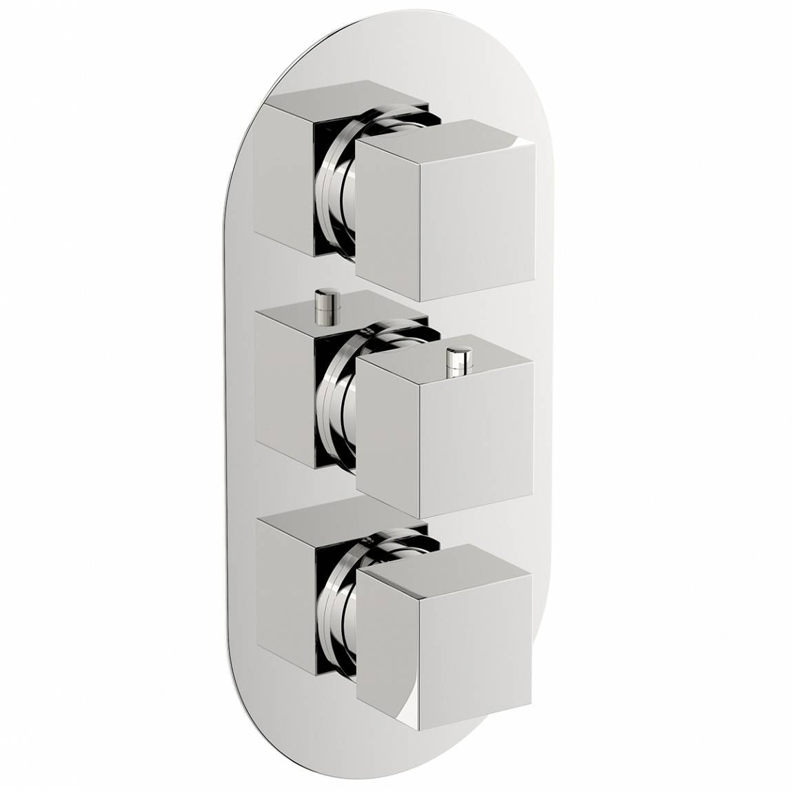 Mode Cubik oval triple thermostatic shower valve with diverter offer pack