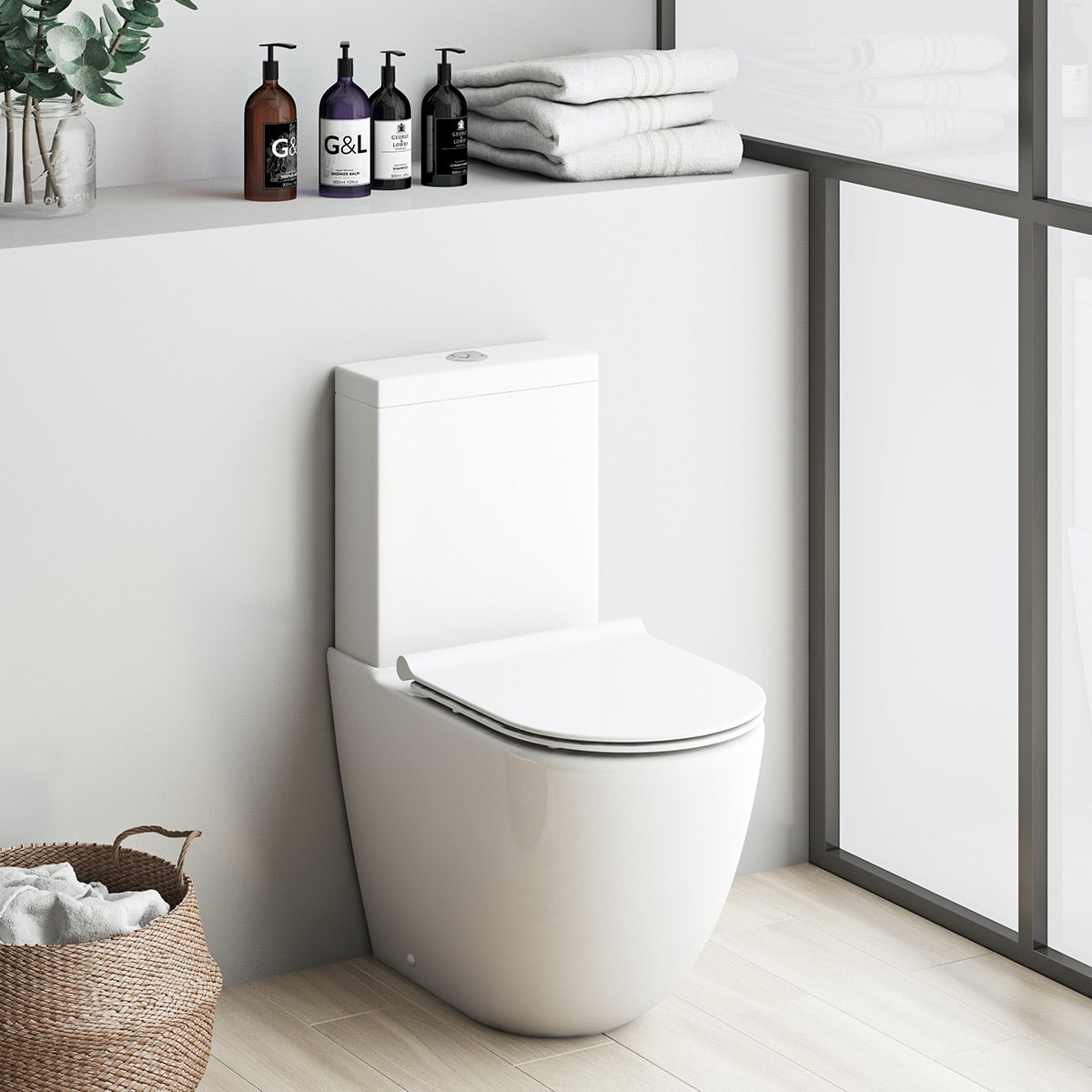 Mode Harrison close coupled toilet inc slimline soft close seat