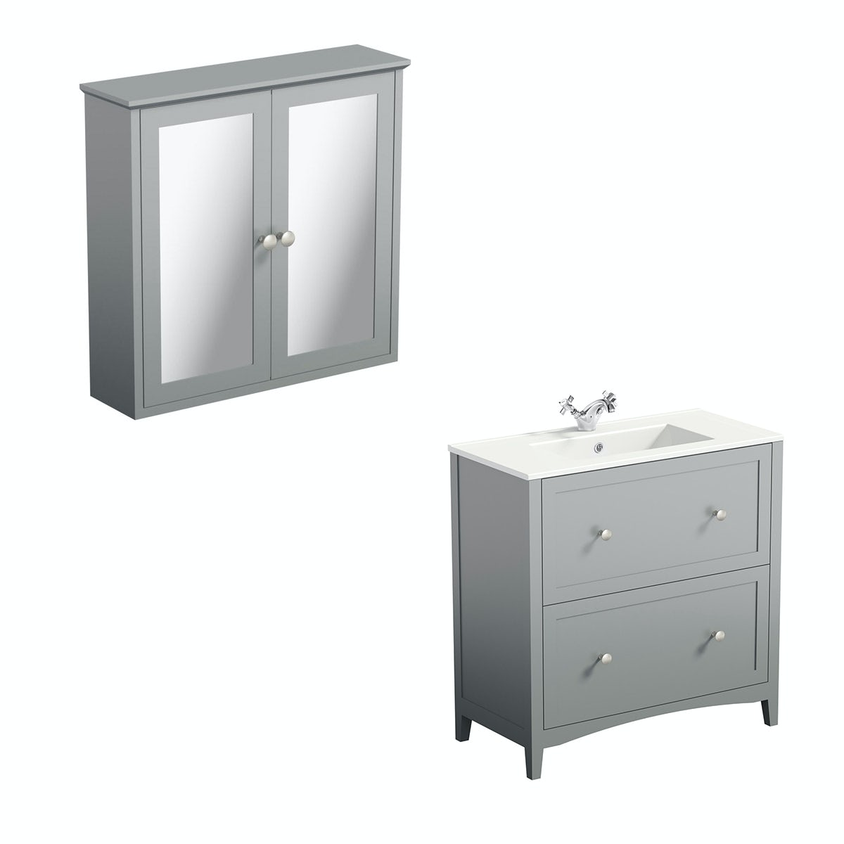 The Bath Co. Camberley satin grey vanity unit 800mm and mirror cabinet offer