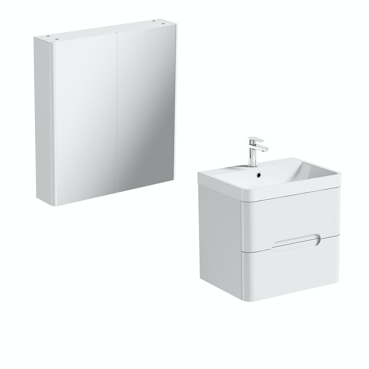 Mode Ellis white wall hung vanity unit 600mm and mirror cabinet offer