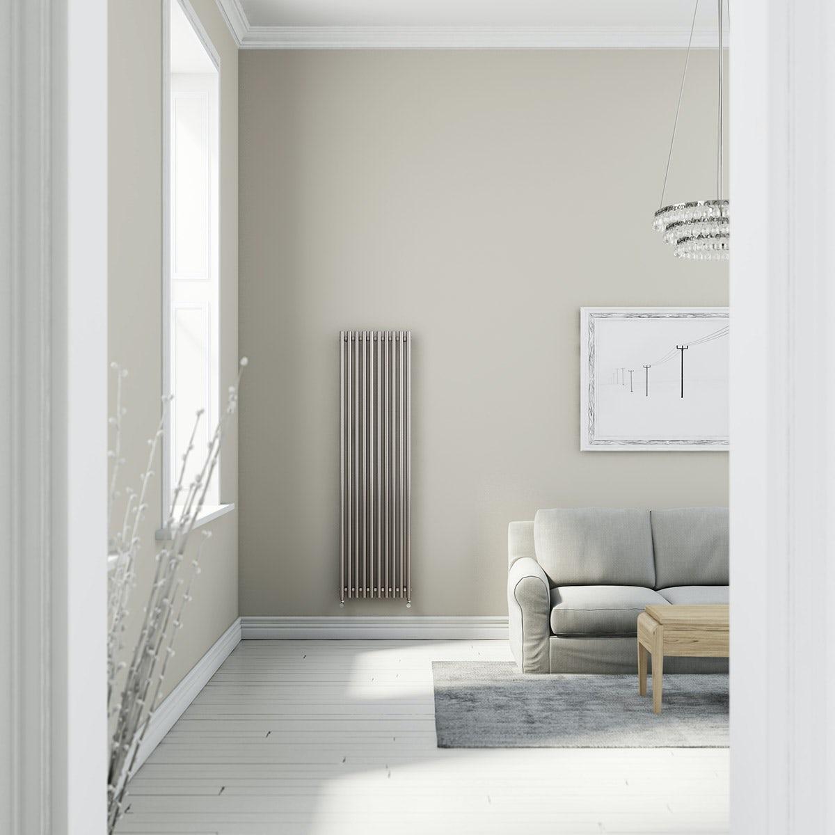 Terma Tune matt nickel single vertical radiator 1800 x 490