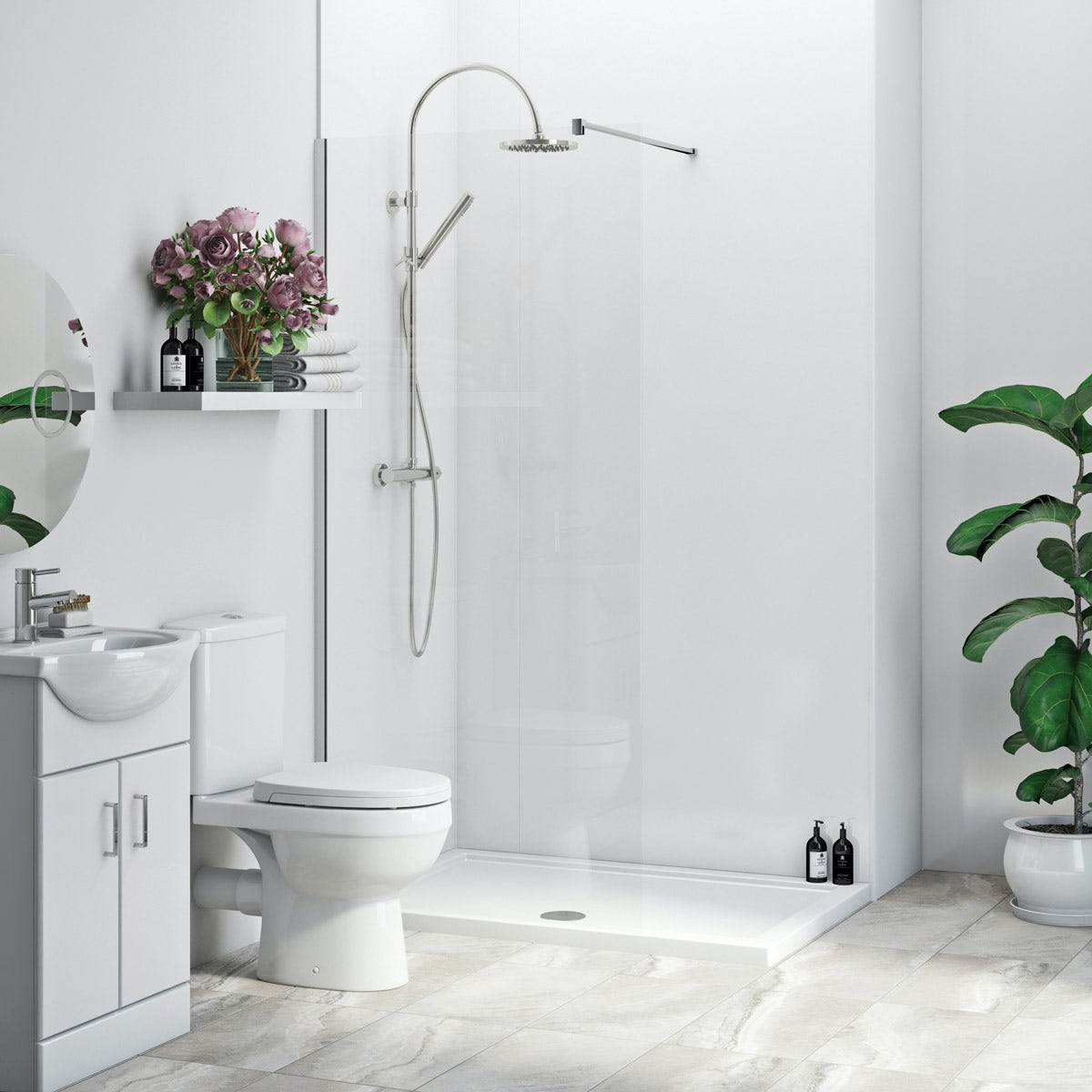 Multipanel Economy Snow Drift shower wall single panel