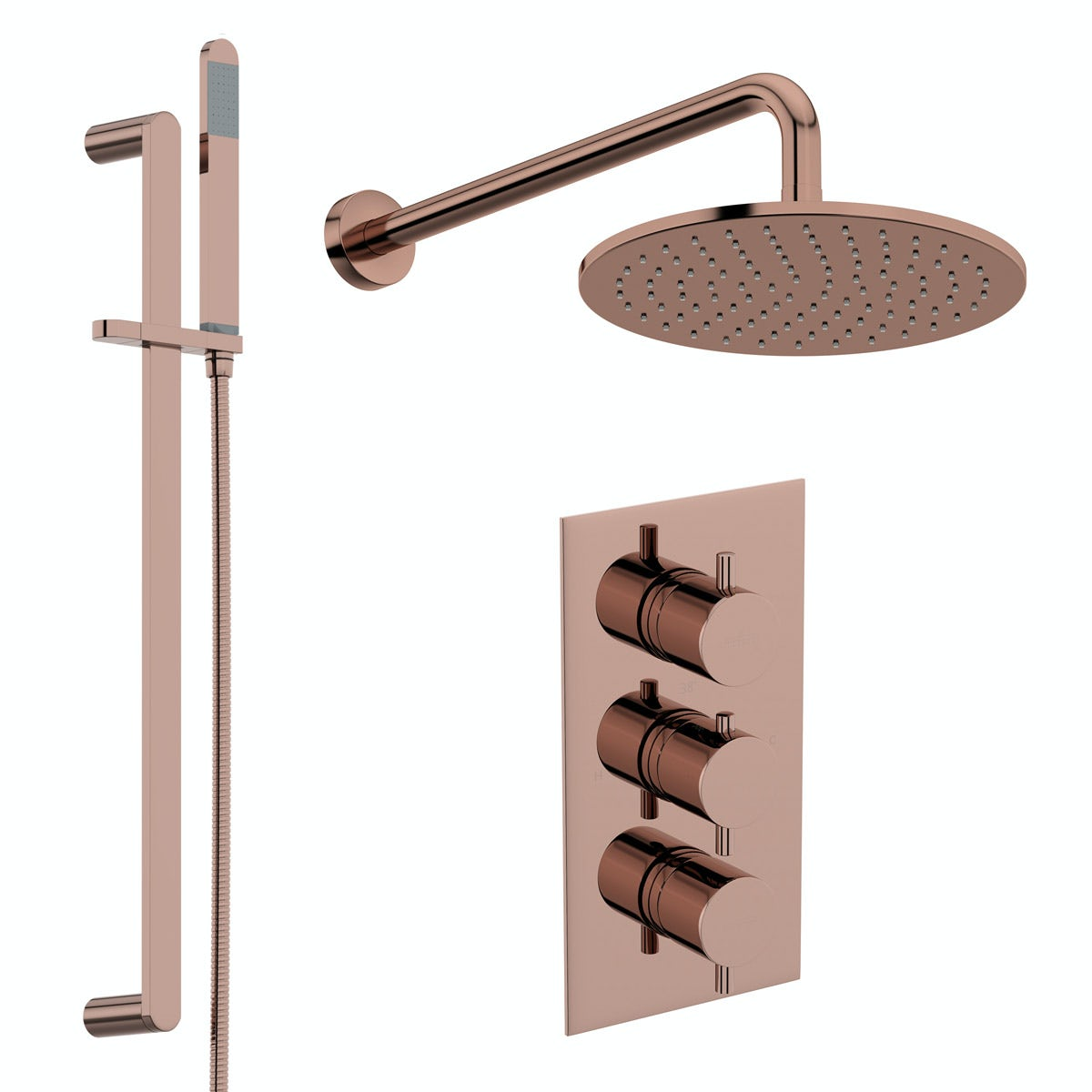 Mode Spencer round rose gold triple valve shower set