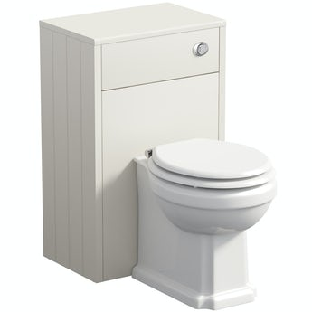The Bath Co. Dulwich ivory back to wall unit and toilet with white wooden seat