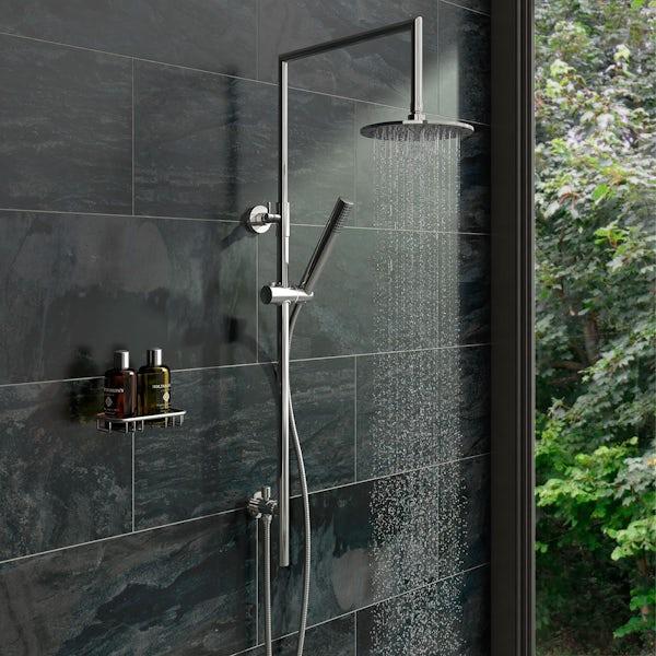 Minimalist waifer round shower riser kit