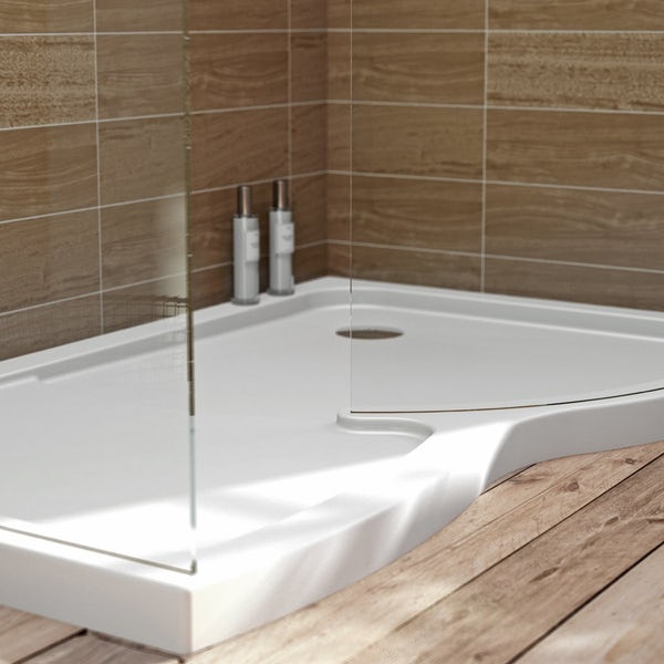 V6 Curved Walk In Shower Enclosure & Tray Pack 1400 x 900 RH