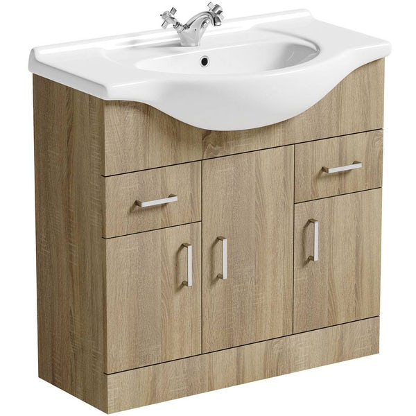 Sienna Oak 850 Vanity Unit with mirror offer