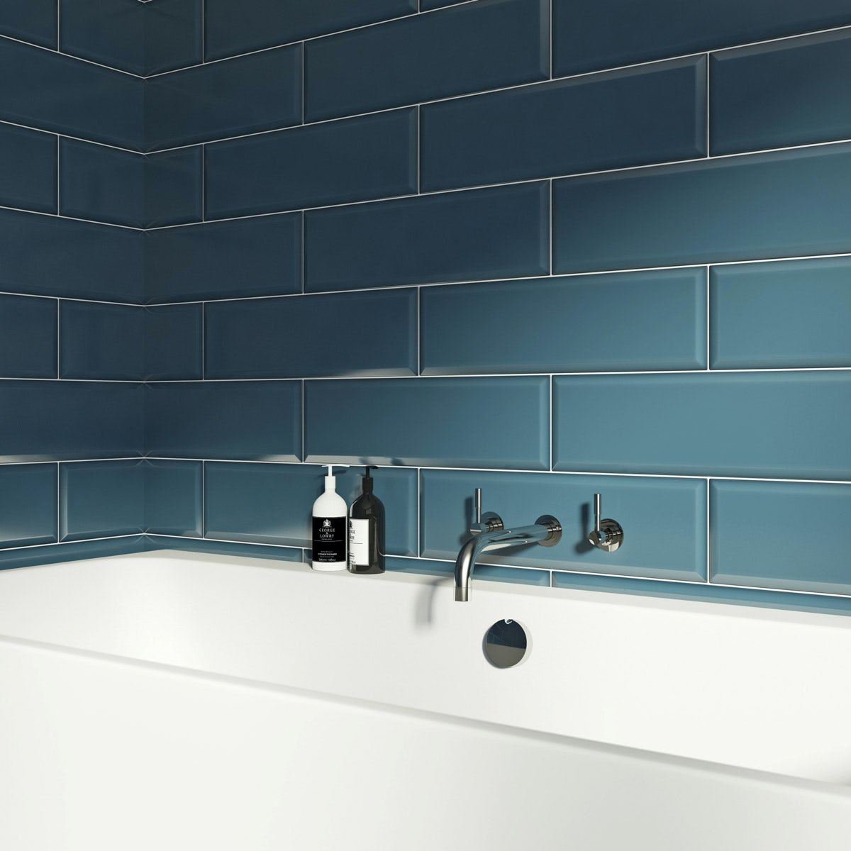 V&A Maxi Metro skyes blue gloss tile 148mm x 498mm