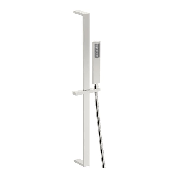 SmarTap white smart shower system with square slider rail and wall shower set