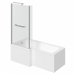 Boston left handed L shaped shower bath 1700mm with 6mm shower screen and rail