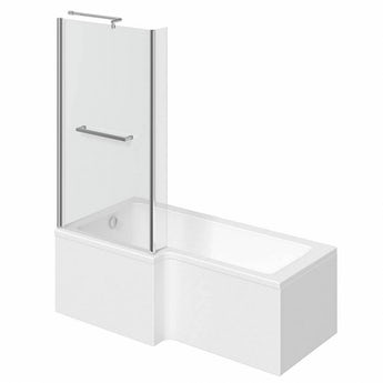 Orchard L shaped left handed shower bath 1700mm with 6mm shower screen and rail
