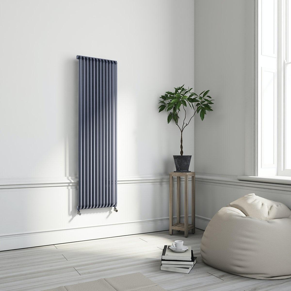 Terma Delfin pigeon blue vertical radiator 1800 x 500