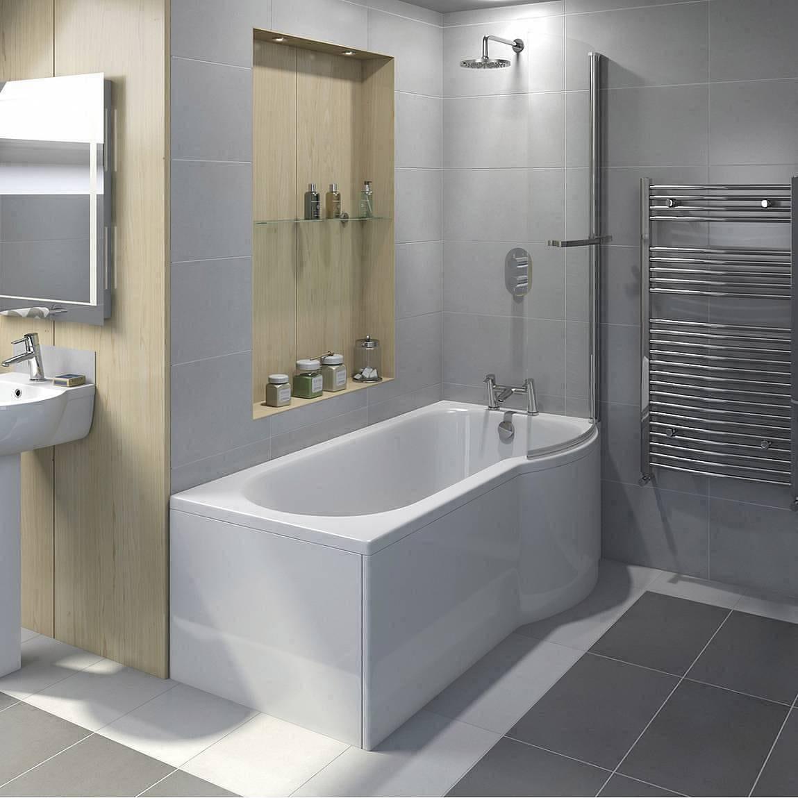 Evesham Shower Bath Screen with Towel Rail