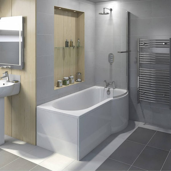 orchard 6mm p shaped shower bath screen with rail. Black Bedroom Furniture Sets. Home Design Ideas