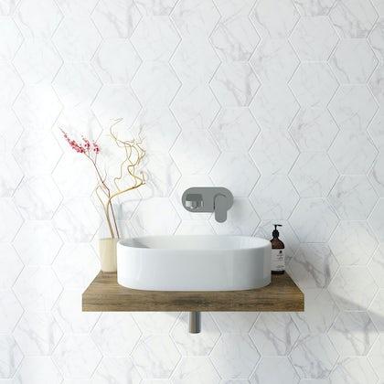 British Ceramic Tile Hex marble white matt tile 175mm x 202mm