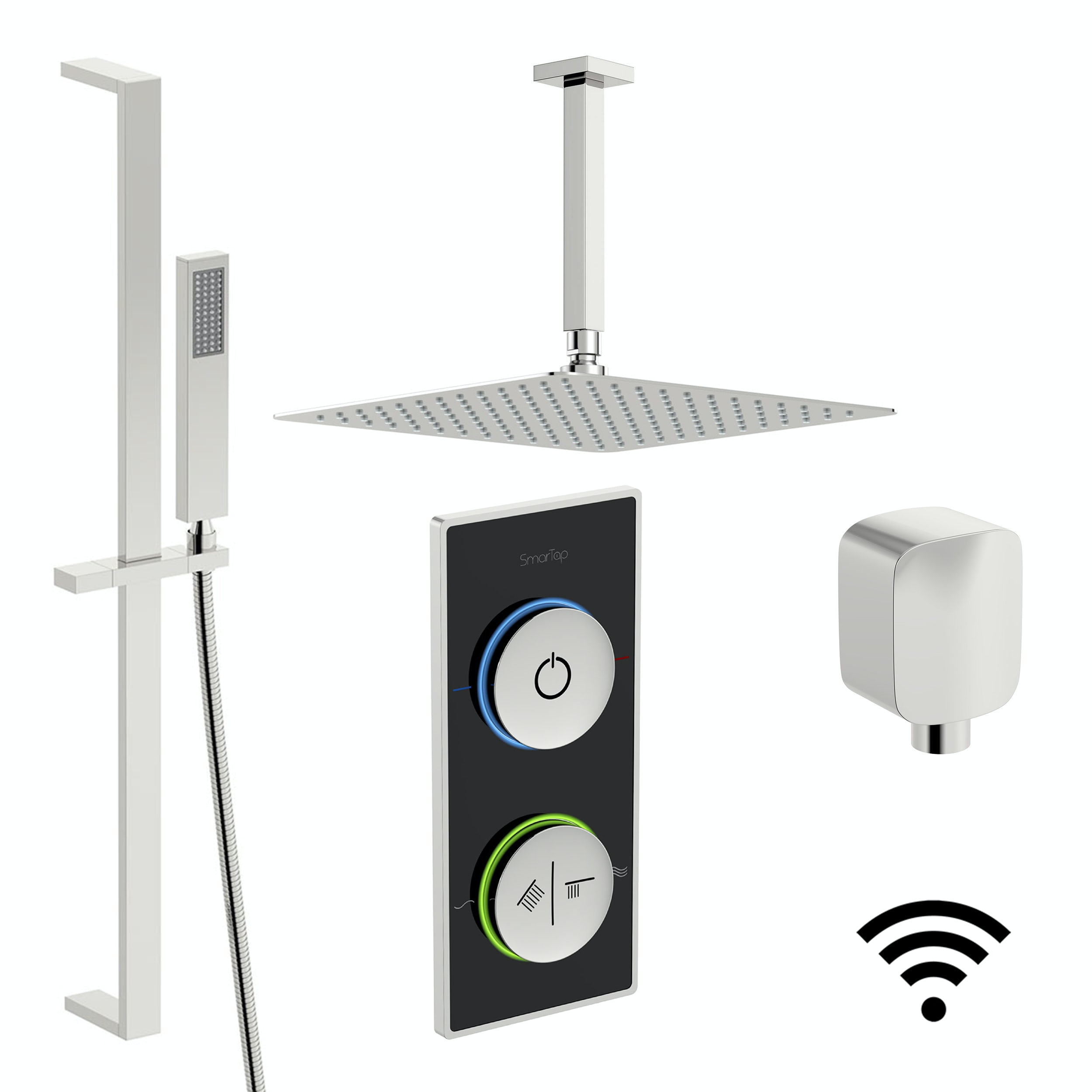 SmarTap black smart shower system with square slider rail and ceiling shower set