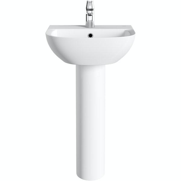 Grohe Bau 1 tap hole full pedestal basin 450mm