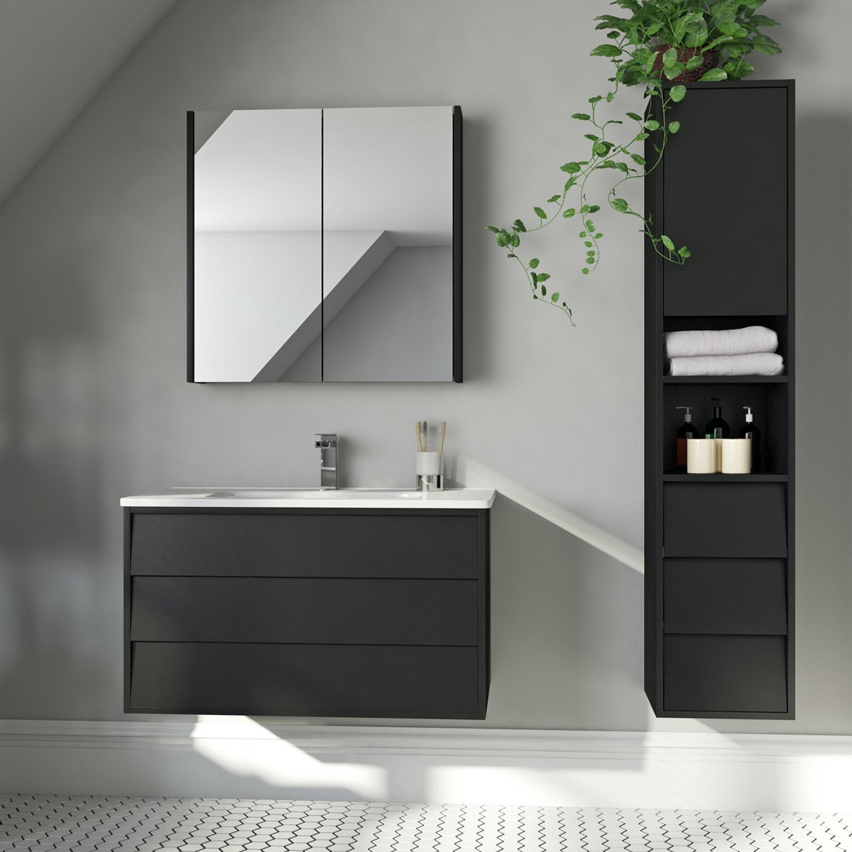 Mode Cooper anthracite furniture package with vanity unit 800mm