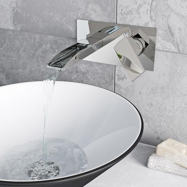 Cooper wall mounted waterfall basin mixer tap