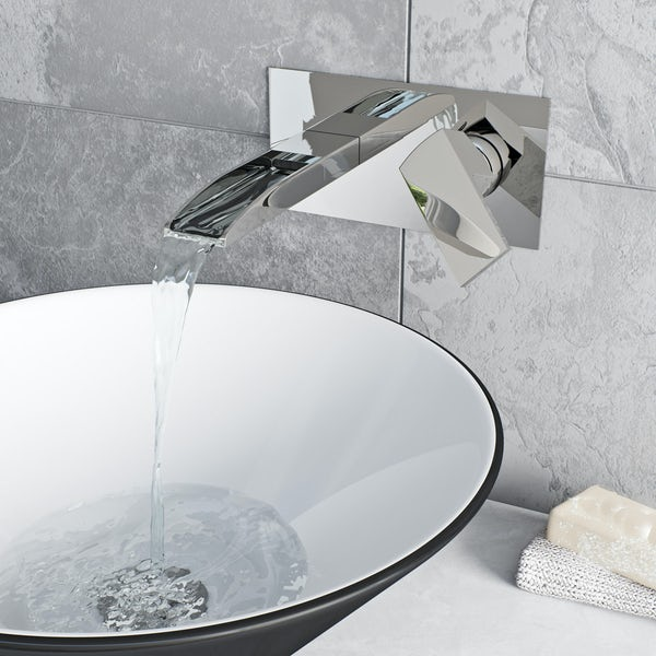 Bright Chrome Single Handle Br Waterfall Basin Sink Taps Wall